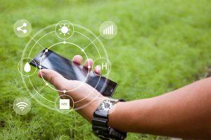 農場でスマートフォンを操作する男性